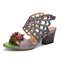 SOCOFY Leather Floral Cutout Butterfly Wings Buckle Slingback Block Heel Sandals - Grey