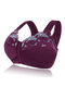 Plus Size G Cup Front Closure Embroidery Wireless Full Coverage Bras - Purple Red