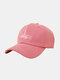 Unisex Cotton Solid Color Letter Gesture Pattern Embroidery All-match Fashion Baseball Cap - Pink