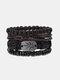 4個の多層レザーメンズブレスレットセット手織りツリーレターレディースビーズブレスレット - #17