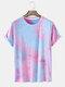 Mens Tie Dye Print Crew Neck Street Cotton Short Sleeve T-Shirts - Purple