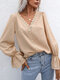 Guipure Lace Solid V-neck Long Sleeve Blouse for Women - Apricot