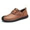 Menico Men Retro Cow Leather Slip Resistant Soft Sole Casual Shoes  - Brown