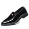 Large Size Men Leather Splicing Slip On Formal Dress Shoes - Black