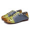 SOCOFY Comfy Leather Contrast Splicing Floral Cut out Elastic Strap Slip-on Flat Shoes - Green