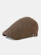 Men Cotton Solid Color Vertical Stripe Stitching Sunscreen Casual Beret Flat Caps - Brown