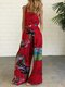 Ethnic Print Straps Wide Leg Pockets Jumpsuit For Women - Red