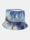 Women & Men Corduroy Multicolor Tie Dye Casual Soft Outdoor All-match Bucket Hat - #07