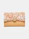 महिला पुष्प पैटर्न मल्टी-कार्ड स्लॉट सिक्का पर्स 6.5 इंच फोन बैग बटुआ - हाकी