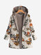 Leaves Floral Print Hooded Long Sleeve Vintage Coats - Yellow