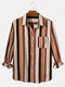 Mens Cotton Colorful Striped Print Daily Fit Long Sleeve Shirts With Pocket - Red