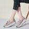 Women's Stylish Mesh Breathable Anti-slip Rocker Bottom Shoes Lace-up Sneakers - Pink
