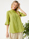 Solid Color Ribbon Half Sleeve  Casual Blouse with Pockets - Green