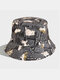 Women & Men Double-sided Cats And Letter Painting Soft All-match Travel Bucket Hat - Black