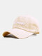 Unisex Washed Cotton Solid Color Ripped 3D Letter Embroidery Fashion Sunscreen Baseball Caps - Beige