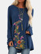 Vintage Floral Printed O-neck Long Sleeve Pullover T-shirt - Navy