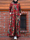 Calico Print Long Sleeve O-neck Zip Front Plus Size Dress for Women - Red