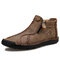 Men Vintage Hand Stitching Microfiber Leather Side Zipper Ankle Boots - Khaki