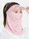 Женский цельный цельный ледяной шелк Шапка с полями на лбу и Шея Защита от солнца на все лицо UV Защита Маска - Розовый