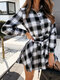 Plaid Long Sleeve Lapel Collar Knotted Mini Dress For Women - White