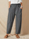 Solid Color Pocket Elastic Waist Casual Cotton Loose Women Pants - Greyish-Green