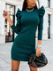 Casual Solid Color Puff Sleeve Plus Size Dress for Women - Green