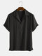 Newchic Design Mens Light Breathable Solid Color Revere Shirt - Black