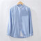 Mens Cotton Striped Stand Collar Vintage Long Sleeve Fashion Casual Shirt