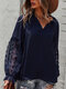 Solid Color V-neck Knotted Long Sleeve Loose Women Blouse - Navy