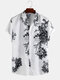 Mens Chinese Style Porcelain Floral Printed Short Sleeve Turn Down Collar Casual Shirt - Black