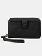 Women Multifunction Removable Card Case Quilting 6.5 Inch Phone Bag Wallet - Black