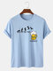 100% Cotton Mens Funny Beer Friday Figure Pattern Short Sleeve T-Shirt - Blue