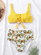 Women Ribbed Sunflower Print Knotted Button Front Crop High Waisted Bikinis Swimsuit - Yellow