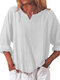 Solid Color Cotton V-neck Loose Long Sleeve Casual Blouse for Women - White