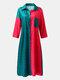Contrast Color Lapel Long Sleeve Button Pocket Loose Shirt Dress - Red
