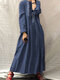 Embroidery Front Button Stand Collar Long Sleeve Pleated Dress - Navy