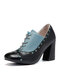 Large Size Women Retro Splicing Lace Up Chunky Heel Single Shoes - Blue