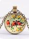 Alloy Glass Vintage Birds Floral Pattern Printed Necklace Pendant - Bronze