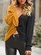 Contrast Color Patchwork V-neck Knot Casual Blouse For Women - Yellow