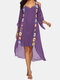 Embroidery Crochet Hollow Out Plus Size Beaches Holiday Blouse Dress - Purple