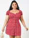 Floral Print Puff Sleeve Plus Size Ruffle Milkmaid Dress - Red