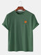Mens Simple Six Color Cartoon Chest Graphic Loose Cotton T-shirts - Green