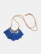 Bohemian Cotton Thread Tassel Long Necklace - #08