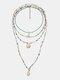 4 piezas de cuentas de arroz de colores Mujer Collar de cruz Turquesa Perla Colgante Collar de cuentas - #01
