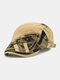 Men Cotton Patchwork Camouflage Pattern Metal Buckle Cloth Stickers Casual Berets - Beige