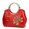 Fashion New Embroidery Flower Bright Patent Leather Shell Ladies Handbag  - Red