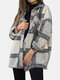 Plaid Button Lapel Collar With Pocket Casual Coat For Women - Gray