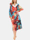 Women Colorful Tie-Dye Coral Fleece Double Pockets Thick Loose Hooded Home Robe - Rainbow