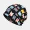 Women Vintage Cat Pattern Ethnic Cotton Beanie Hat Good Elastic Breathable Summer Turban Caps - Black