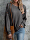 Button Solid Color Long Sleeve O-neck Casual Blouse For Women - Gray